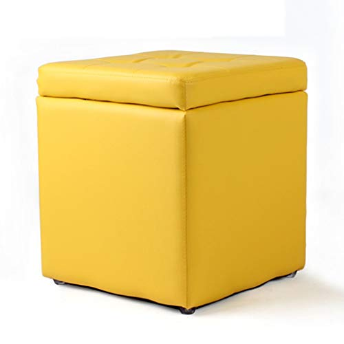 Flip Top Seat - DWW Folding Ottoman Toy Box Chest with Memory Foam Seat Flip Top Storage Bench Footstool Rest Step Stool Upholstered Pad Faux Leather Pouf (Color : Yellow)