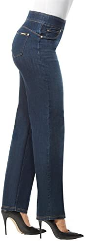 """LUXE DENIM SLIMS Slim Straight Leg Jeans    Slim, straight cut jeans in a pull-on style, with a concealed 4"""" midsection minimizer, 2"""" visible waistband, faux front pocket details and functional back pockets for the look of denim in a streamlined fit. Luxe Denim Slims offer ultimate comfort and compression in a luxurious look and feel: our exclusive Denim 360 fabric has 4-way stretch and 24/7 recovery, giving you a perfect fit every time."""