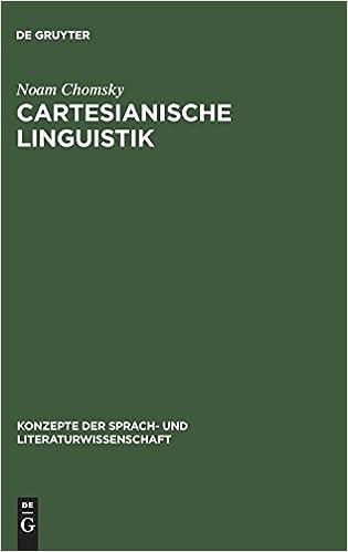 Amazon com: Cartesianische Linguistik (Konzepte Der Sprach