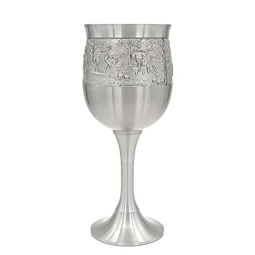 Oriental Pewter - Liquor Goblet Pewter Pure Tin 97% Lead-Free G3L Hand Carved Beautiful Embossed Handmade in Thailand