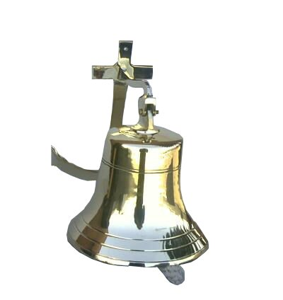 Handtooled Handcrafted Brass Large Wall Anchor Bell by ITDC