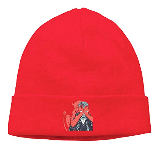 DADAJINN Mens & Womens Queens Of The Stone Age Villains Skull Beanie Hats Winter Knitted Caps Soft Warm Ski Hat Red