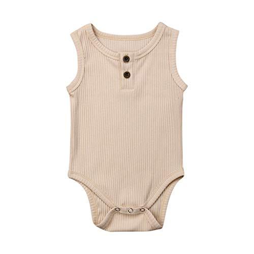 Shusuen Newborn Baby Boys Girls Romper Sleeveless Outfit Summer Button Casual Clothes Bodysuit