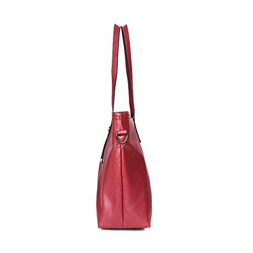 Bolso de Cuero PU Bolso Conjunto para Mujer Bolso Tote de Hombro y Monedero de Mano 3pcs,Vino Rojo Rojo