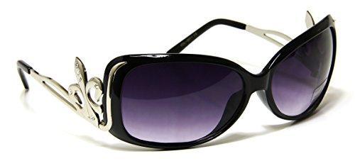Womens Designer Oval Sunglasses Black Silver Frame & Gradient Lens Scout Symbol Design Rhinstones on - Symbols Designer Sunglasses