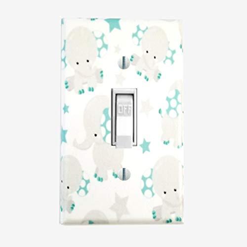 (Baby Elephant nursery wall decor Decorative light switch cover Blue gray)