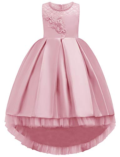 JOYMOM Dresses for Girls, Kid Round Neck Pearl Neckline A Line 3D Flower Big Back Bowknot Pleated Satin Fancy Elegant Bridemaids Flower Girl Dress Pink 120(5-6Y)