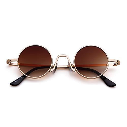 Hombres fino Eyewear sol Marco de Mujeres con borde metal Gafas Style Vintage Oro ovaladas Street ADEWU 1 Lente Redondo Marrón de 0Hnq7Oqx