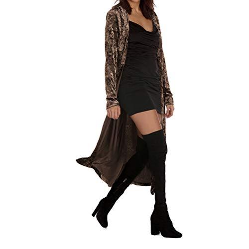 Women's Long Velvet Cardigan Open Front Vintage Outerwear Maxi Long Sleeve Blazers Coat Coffee -