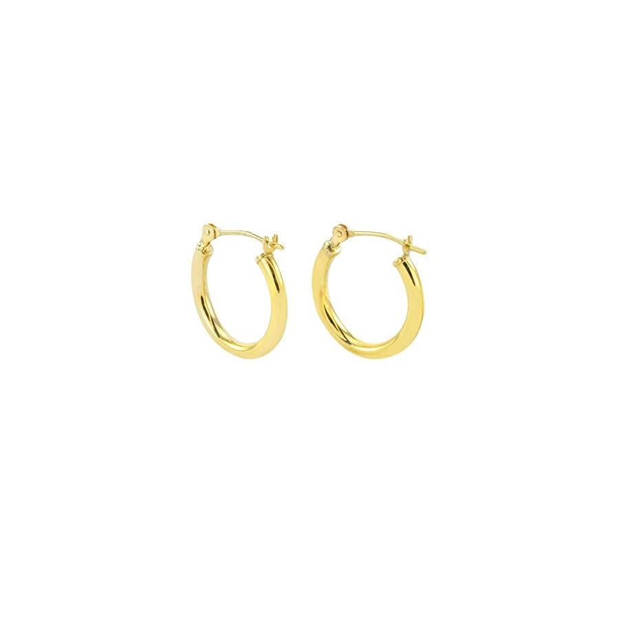Tiny 14k Gold Extra Small Hoop Earrings (12mm Diameter)