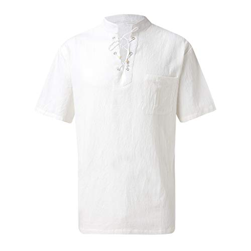 Fastbot Sunmer Vintage Casual Linen Lace Short Sleeve T-Shirt Top Blouse for Men White