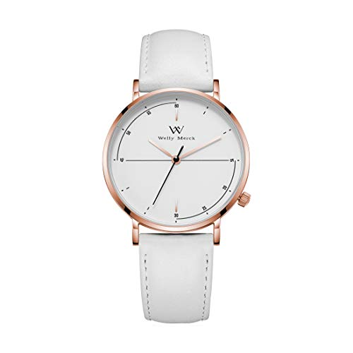 (Welly Merck Womens Watches Leather Strap Minimalist Swiss Quartz Movement Sapphire Crystal Stainless Steel Analog Wrist Watch with Interchangeable Italian White Leather Strap,5ATM Water Resistant)