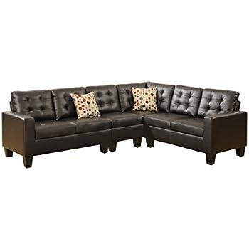 Amazon Com Poundex Bobkona Roxana Bonded Leather 4piece