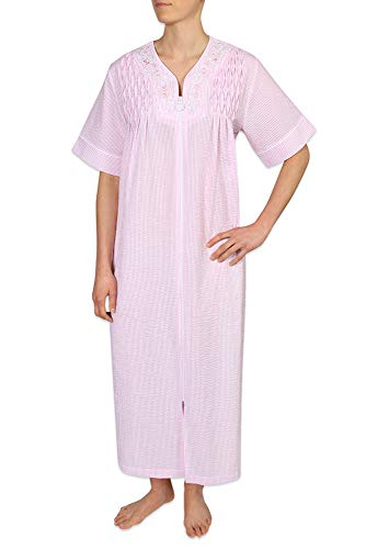 - Miss Elaine Women's Long Seersucker Zipper Robe with Short Sleeves, Embroidery, and Smocking. Two Inset Side Pockets