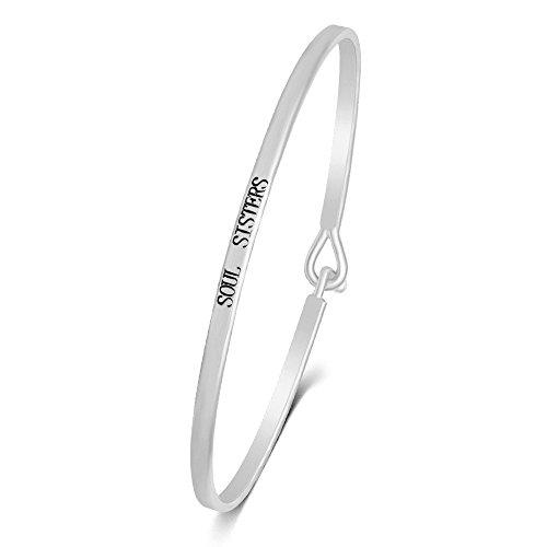 - SENFAI Engraved Positive Inspirational Bracelet Stamped Cuff Bangle Width 6cm for Small Wrist (Soul Sisters 3)