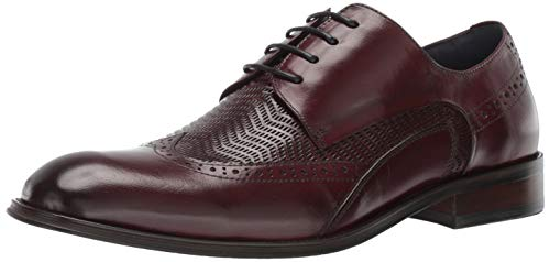 Embossed Leather Blazer - STACY ADAMS Men's Maguire Wing-Tip Lace-Up Oxford Burgundy 11 M US