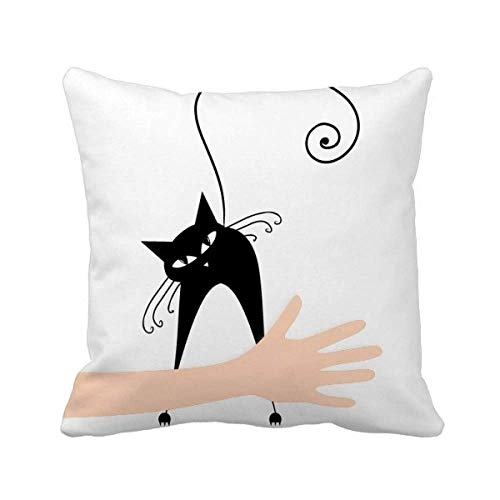 cold master DIY lab Halloween Black Cat Lover Animal Art Silhouette Hand Throw Pillow Square Cover -