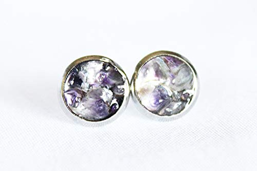 Non Mandrel - Amethyst Studs, Hypoallergenic Studs, February Birthstone, Amethyst Earrings, Valentines Day Gift, Purple Earrings, Ultraviolet Earrings