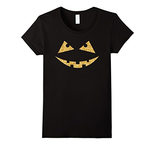 Womens Golden glitter pumpkin scary halloween cut out face t-shirt Medium Black - Cut Out Halloween Pumpkin Face
