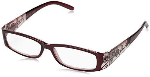 MLC Eyewear Women's Springwood SD048-BUGCLCL300 Polarized Rectangular Reading Glasses, Burgundy & Clear, - Reading Glasses Amazon