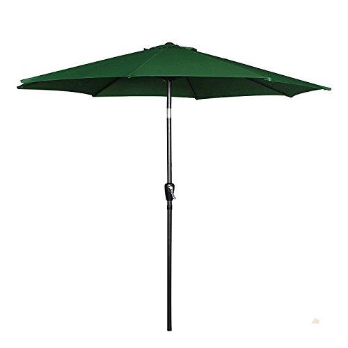 Cheap Cloud Mountain 9′ Patio Umbrella, Outdoor Market Umbrella Push Button Tilt Crank, Aluminum Table Umbrella Outside 100% Polyester, Green