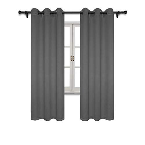 Glamour Curtain Panel - SUO AI TEXTILE Blackout Curtain Panels Bedroom-Window Treatment Thermal Insulated Drapes Solid Grommet Blackout Window Curtains Living Room (2 Peices,Each 37x84 Inch,Grey)