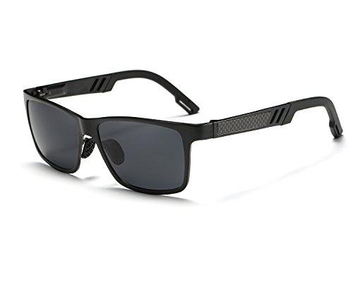 Polarisées Protection Gris Léger Conduite de Wayfarer Al Frame 400 soleil Metal lunettes REDPEONY Noir UV Mg Hommes Ultra x7pZnwnTqR