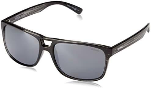 Revo Holsby RE 1019 01 GY Polarized Square Sunglasses, Black Woodgrain/Graphite, 58 mm