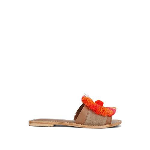 Kenneth Cole New York Women's Orton Slide Sandal with Circle Fringe Detail, Orange/Multi, 8.5 M US