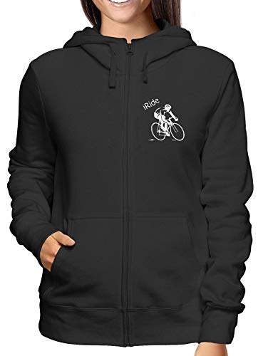 Zip Felpa Oldeng00320 Nero Cycling shirtshock Cappuccio E Donna T pwWgq4vc