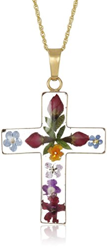 14k Gold Over Sterling Silver Pressed Flower Multi-Colored Cross Pendant Necklace, 36
