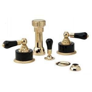 Phylrich K4244/007 - Versailles Four Hole Bidet Set W/Vertical Spray, Black Onyx Handle (Vertical Bidet Brass Spray)