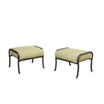 Hampton Bay Edington Patio Ottoman With Celery Cushion 2 Pack Ottomans Patio And Furniture