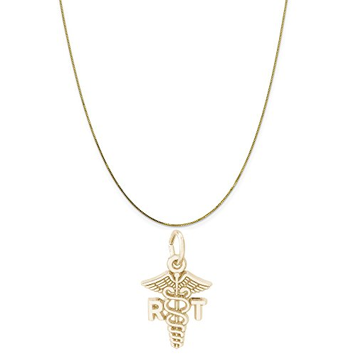 Rembrandt Charms 10K Yellow Gold RT Caduceus Charm on a 10K Yellow Gold Box Chain Necklace, 16
