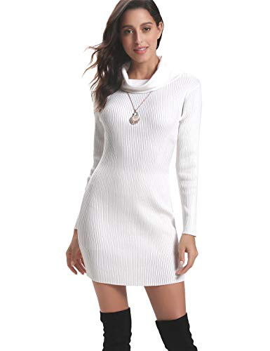 eeve Turtleneck Cable Knit Sweater Dress Slim Pullover White ()