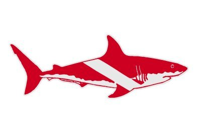 Bull Shark on a Dive Flag Scuba Diver Sticker / Decal