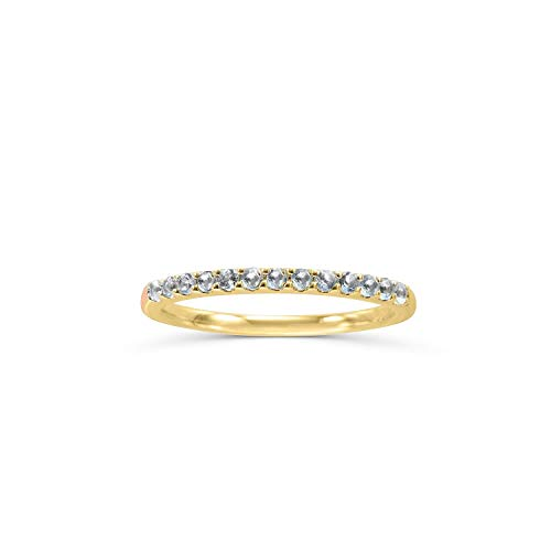 (14K Yellow Gold 1/6 Cttw Genuine Aquamarine Stackable 2MM Wedding Anniversary Band Ring - March Birthstone, Size 9)