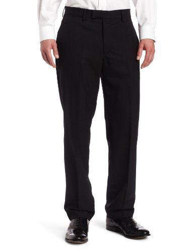 Louis Raphael LUXE 100% Wool Solid Modern Fit Flat Front Dress Pant, Black, 34x30