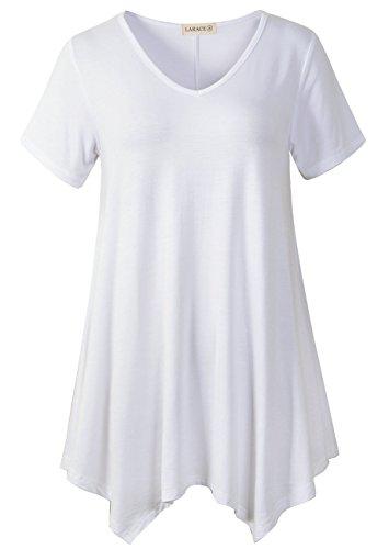 Womens Plus Size T-shirts - LARACE Women Casual T Shirt V-Neck Tunic Tops for Leggings(3X, White)