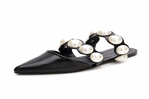Pantofole Estate Piatta Pearl Femminile black da A Baotou Traspiranti Forte Pigro Muller Scarpe Scarpe donna HBDLH Pantofole Punta Moda Pelle Retrò 0qz8yx
