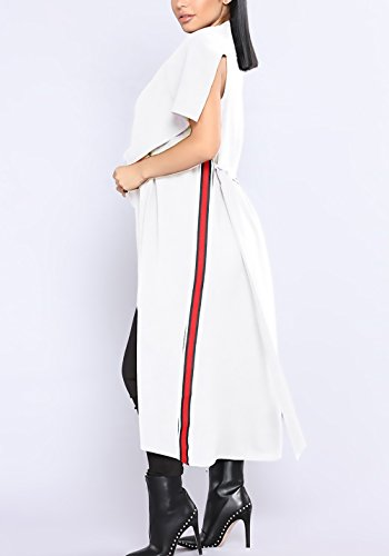 Mangas Cinturón Elegantes De Frente Blanco Irregular Primavera Largos Rebecas Mujer De Solapa Cardigan Chaquetas Con Anchas Sin Abrigo Casual Abierto EAwp0