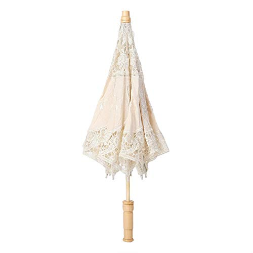 Mini Handmade Lace Silk Embroidery Flower Umbrella (Smaller Than Your Imagination !!!!)(Just for Photography or Decor, not Practical for Raining Day(S-Beige)
