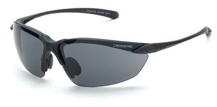 Crossfire Sniper Safety Glasses with Matte Black Frame and Smoke Lens (Sniper Eyewear Protective)