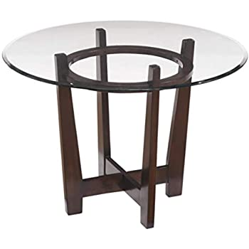 05e1edce460f Ashley Furniture Signature Design - Charrell Dining Room Table - Glass Top  - Round - Medium Brown