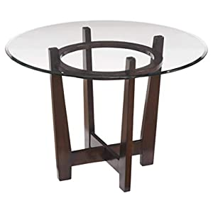 Ashley Furniture Signature Design – Charrell Dining Room Table – Glass Top – Round – Medium Brown