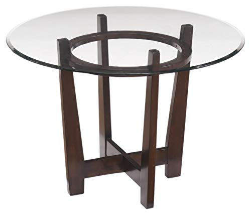 (Ashley Furniture Signature Design - Charrell Dining Room Table - Glass Top - Round - Medium Brown)