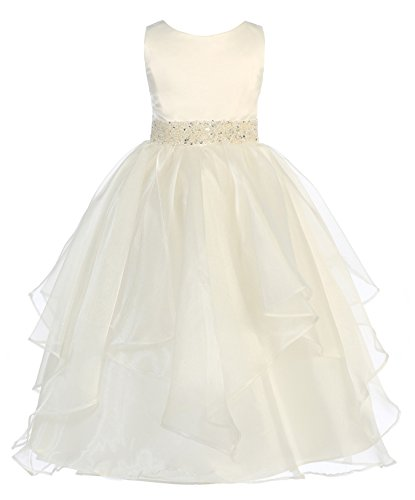 Girls Chic Baby Asymmetric Ruffles Satin/Organza Flower Girl Dress -Ivory-10-(CB302) ()