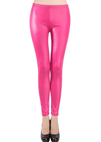 Swtddy Women's Girls Sexy Faux Leather Tights Slim Thin Elastic Waist Leggings Pants (M, Rose Pink) Womens Leather Clothes