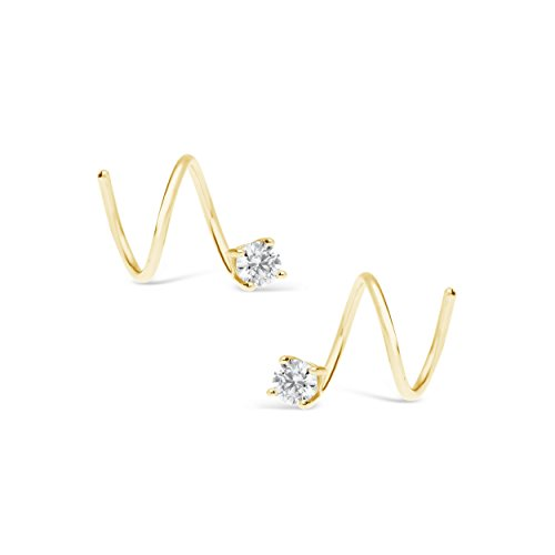James Free 14k Solid Yellow Gold and White Topaz Spiral Earrings