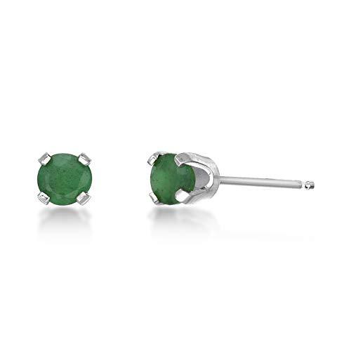 (.54 CT Round 4MM Green Emerald 14K White Gold Stud Birthstone)